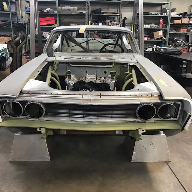 Thanks to Bill and crew at Rhine Enterprises along with Ken Thompson for building me the right pan, rear spoiler and using his HM dash as a pattern for my '69 Torino. Getting close to finishing up the fabrication phase. Sitting at ride height now. #rhinebuilt #rhineenterprises #manmadelegends