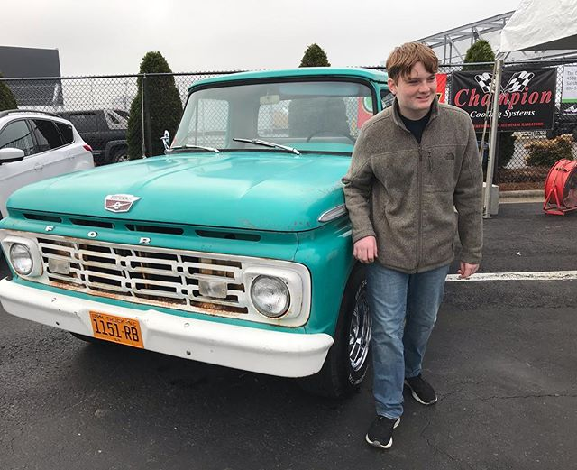"Another Autofair in the books. Thanks to all who came to see us. Here's my youngest (14) posing with his truck that he sold Friday. It's off to NY with a great new owner and Jonathan and I get a chance to find another project. Wanted him to have the ""my first car was a '64 Ford F100 and wish I never sold it"" picture to remind him of the great times we had working on ""Roy"" together.  Lots of memories and time for the next project. #manmadelegends"