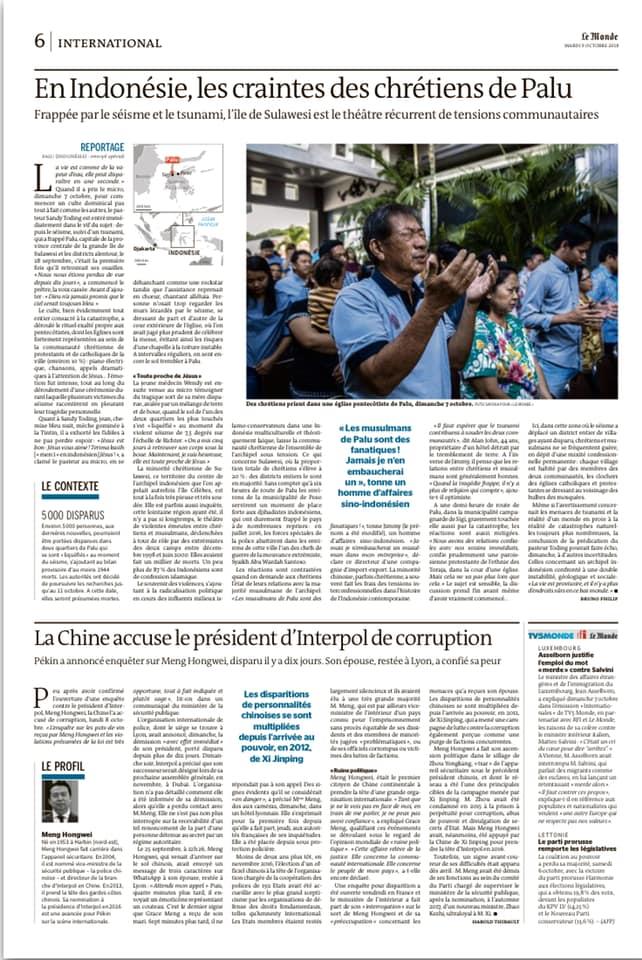 Le Monde, Oct 8, 2018.