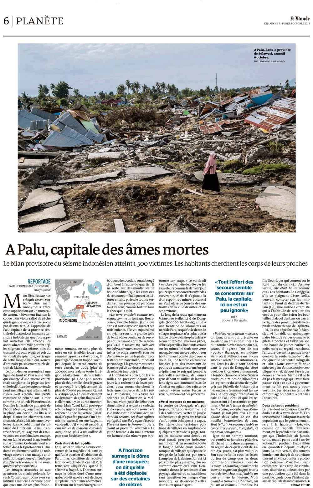Le Monde, 7 October 2018.