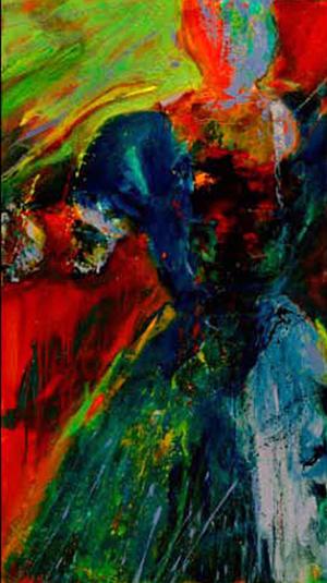 Woman in Blue Dress - SOLD