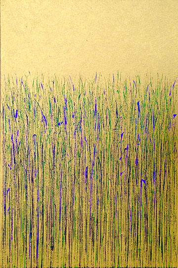 """Green and Purple on Gold"" 36in x 24in painting by Mary D. Ott"