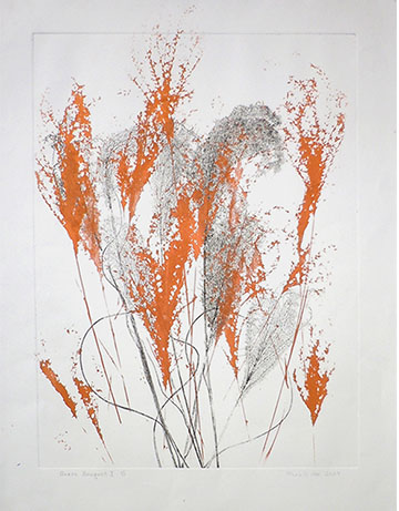 """Grass Bouquet VI"" 37in x 28in Etching & Screenprint by Mary D. Ott"