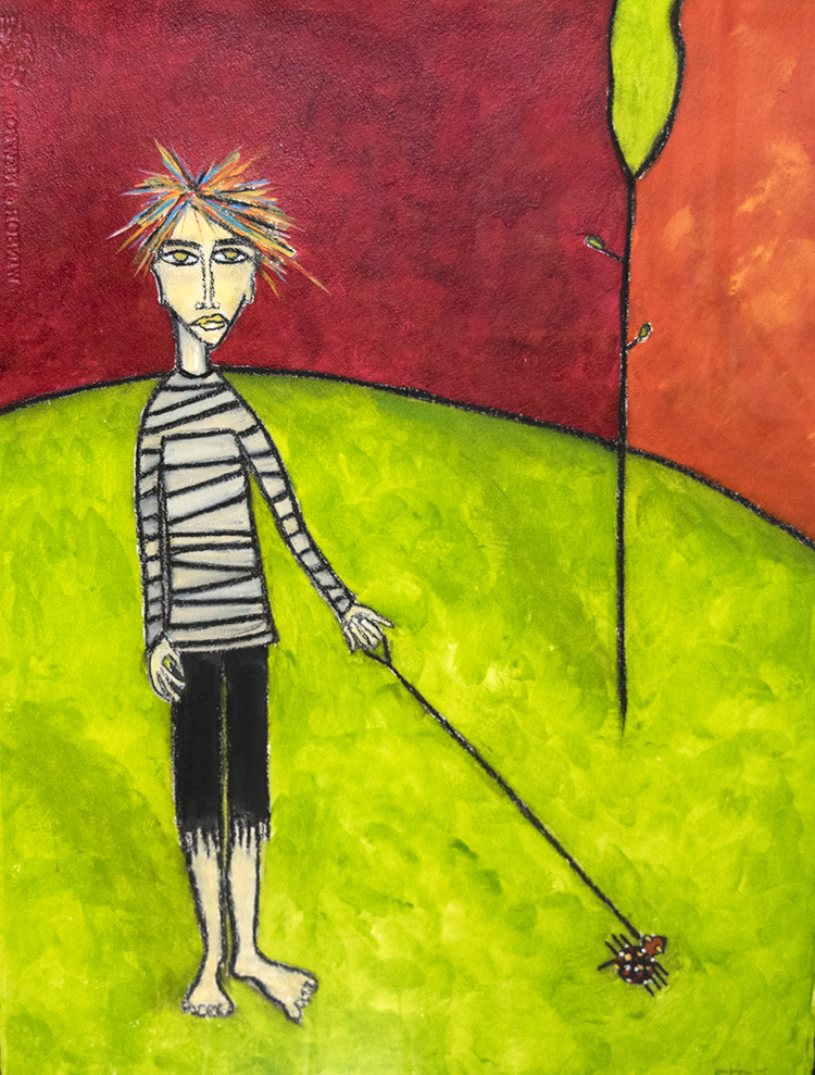 """spider with boy"" Watercolor, acrylic, charcoal on paper"