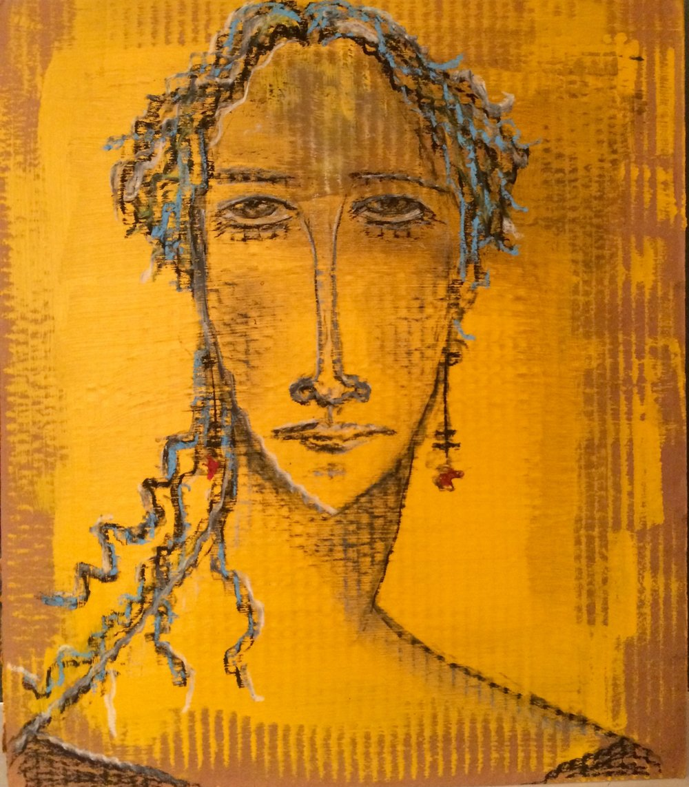 """woman on yellow""  charcoal and acrylic on cardboard"