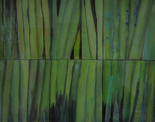 """Grasses""   Mixed media on board, 30"" x 40"""