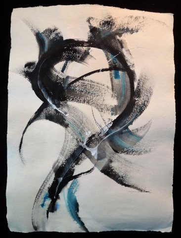 "Gesture Play I, 38"" x 46"", Brush and Acrylic on Bugra paper by Maureen Squires"