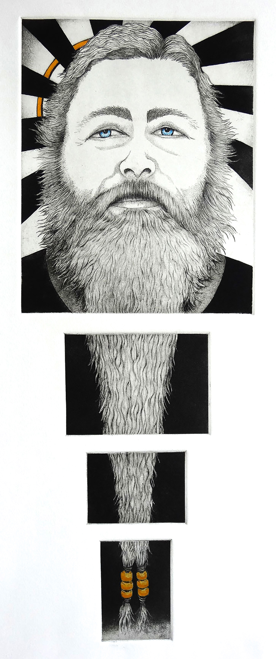 """The Power of Laryy's Beard""   Original Art, 24"" X 10.75"", Intaglio Etching"