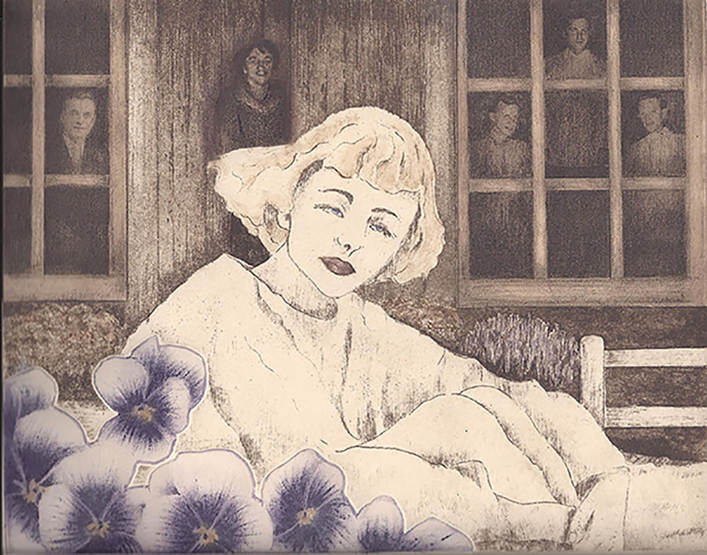 """Of My Mother"" Original Art, 8"" X 10"", Intaglio Etching by Carol Moore"
