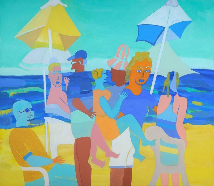 "The Boating Party Without the Boat SOLD   28"" x 32"", acrylic"