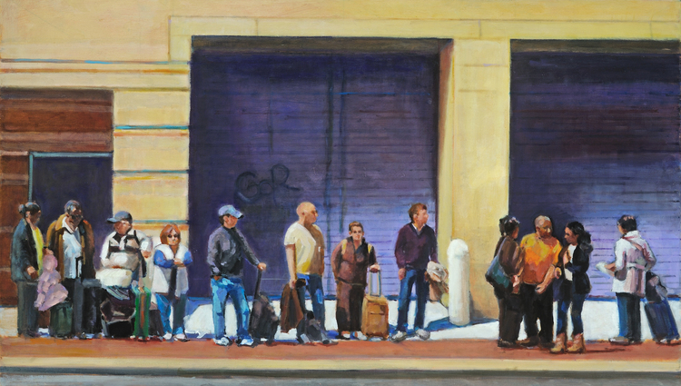 Bus Stop to NYC Bethesda, MD SOLD   Oil on linen 24 x 38