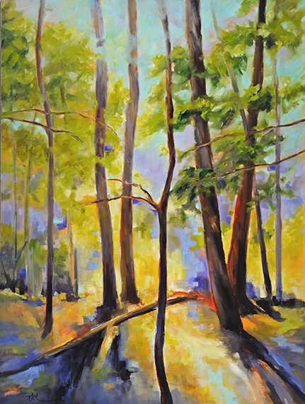 "PA WOODS  Oil on Canvas, 36"" x 40"""