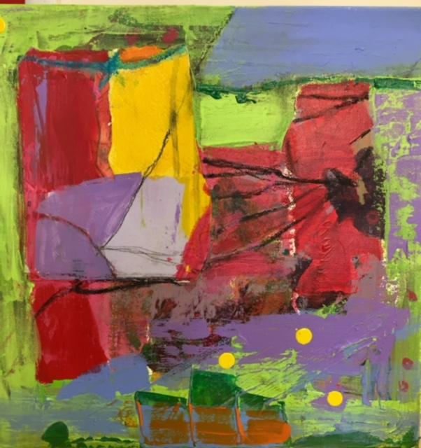 """Untitled Landscape"" 12"" X 12"" Mixed Media on Canvas by Paula Lantz"