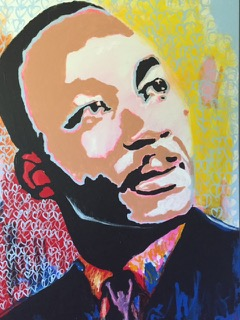 Martin Luther King Jr  Acrylic on canvas 48′′ x 36′′