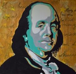 """Benjamin Franklin  Acrylic on canvas 24"""" x 24"""""""
