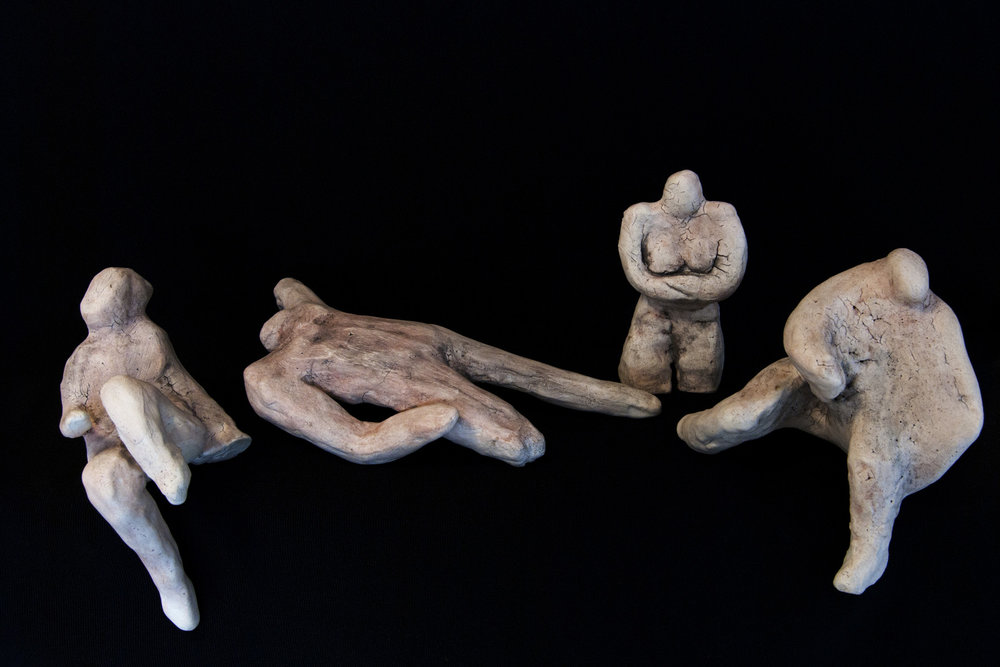 Do Nothing Figures, stoneware, size varies: 5'' x 4'' x 5'' to 3'' x 5'' x 12''