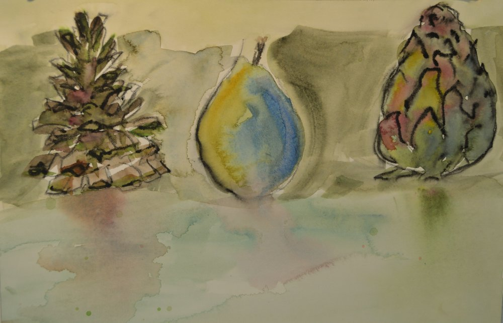 The simple watercolor sketch that sparked the beginning of Pat's solo series