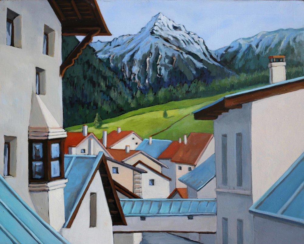 "Switzerland: Window View , 8"" x 10,"" oil on panel"