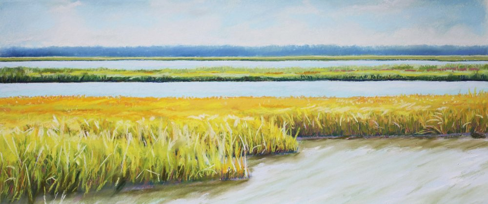"Maryland: Eastern Shore , 8"" x 18.5,"" pastel on paper"