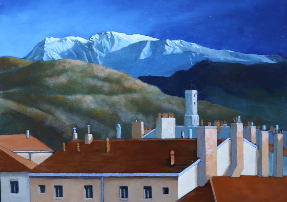 "Grenoble: City and Landscape,  8"" x 10,"" oil on panel"
