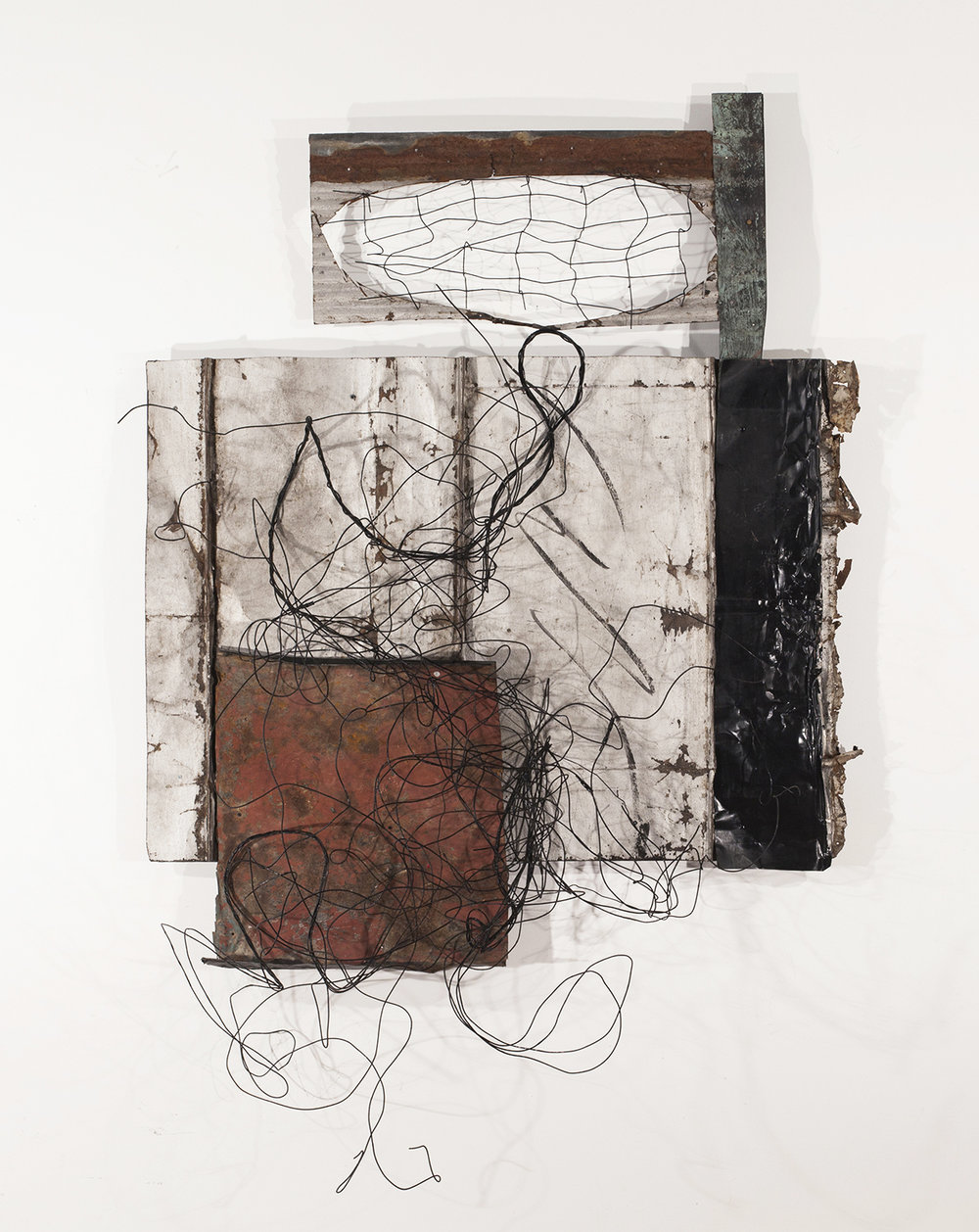 "#990: Three kinds of metal roofing - copper, corrugated, and steel, burned wire, metal fencing, 76""x 50""x 22"""