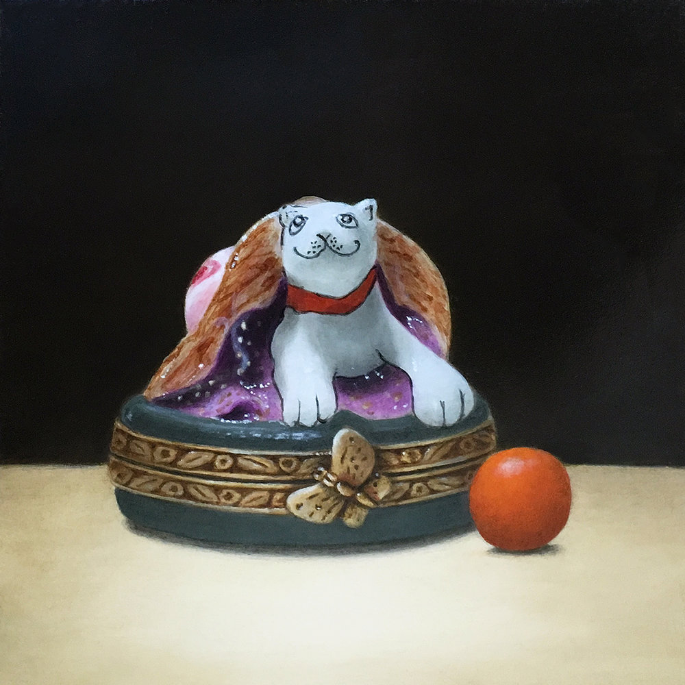 """Cat in a Straw Hat Porcelain Pillbox and Orange Gumball"""
