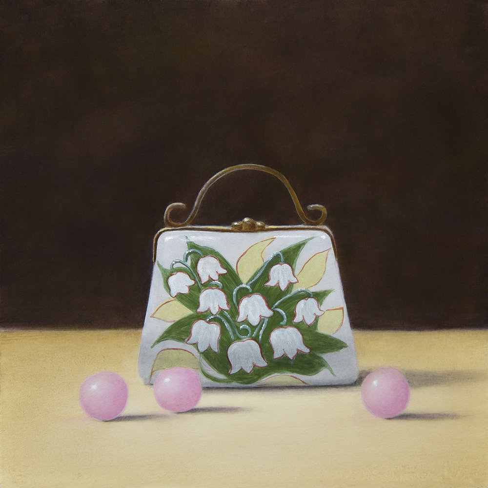 """Lily of the Valley Purse Porcelain Pillbox and Pink Chocolate Balls"""