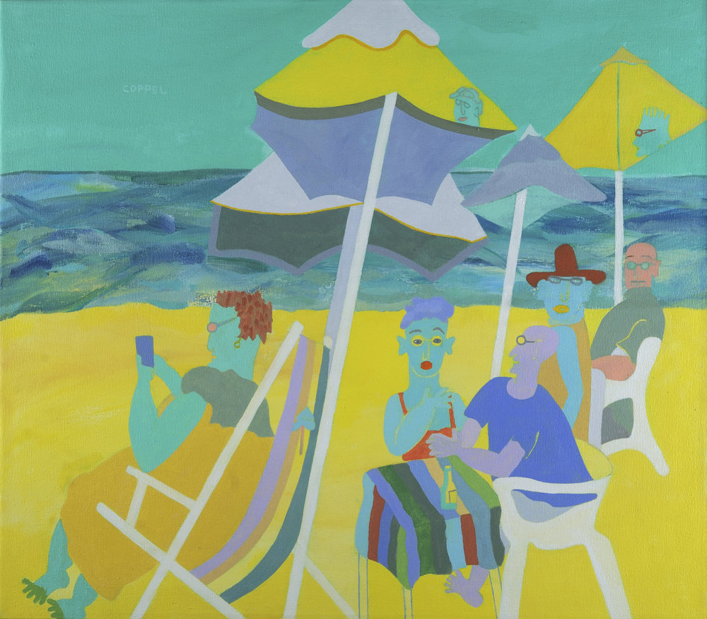 "Under the Umbrellas 28""x32"""