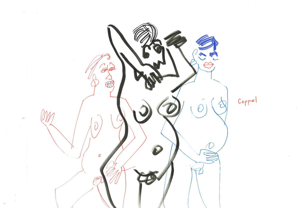 "Three Pregnant Nudes, 11""x14"" colored ink/graphite"