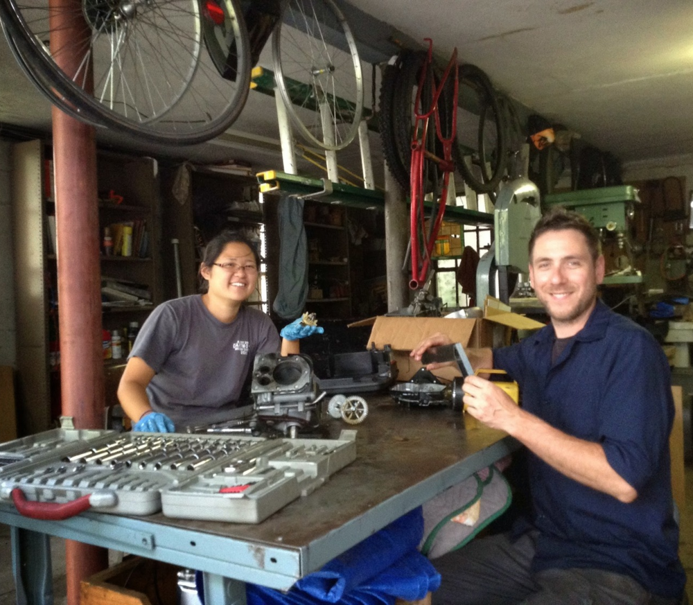 Kimberly and Mr.G half way through the engine build. Kimberly is an engineering student at Dartmouth.