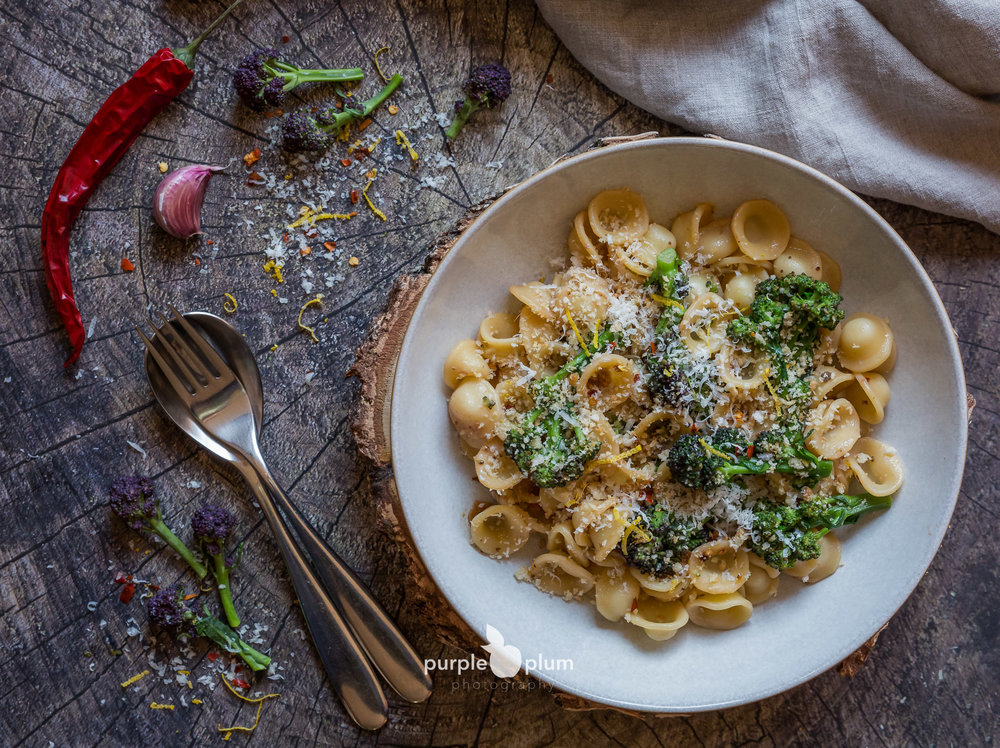 Orecchiette with Anchovies and Purple Sprouting Broccoli