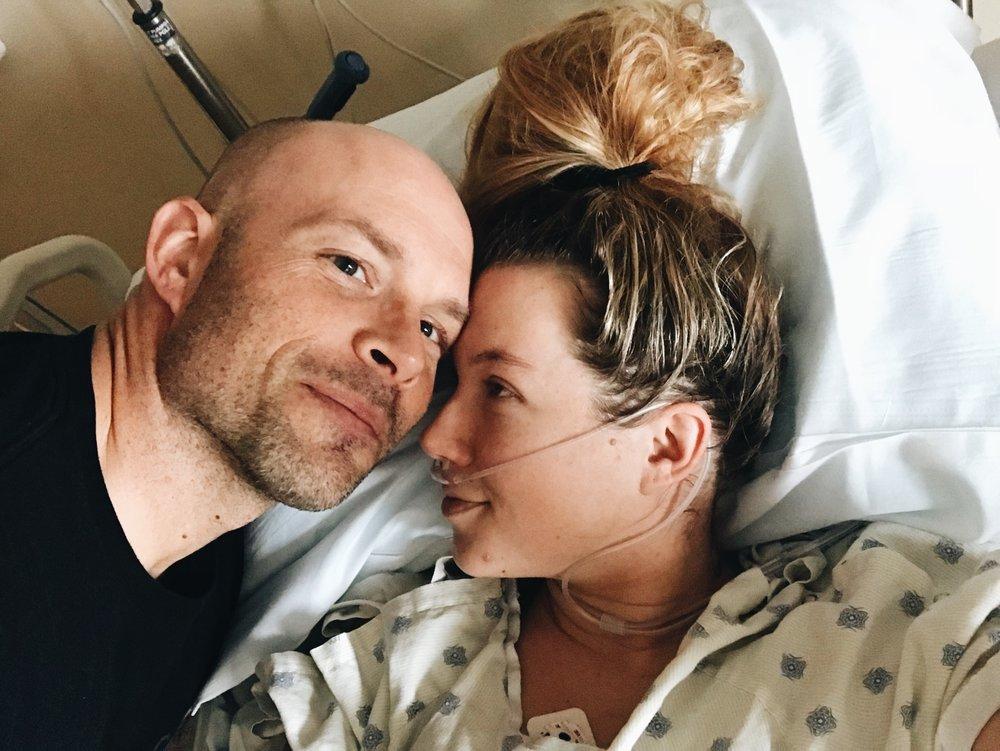 My sweet husband with me in ICU.