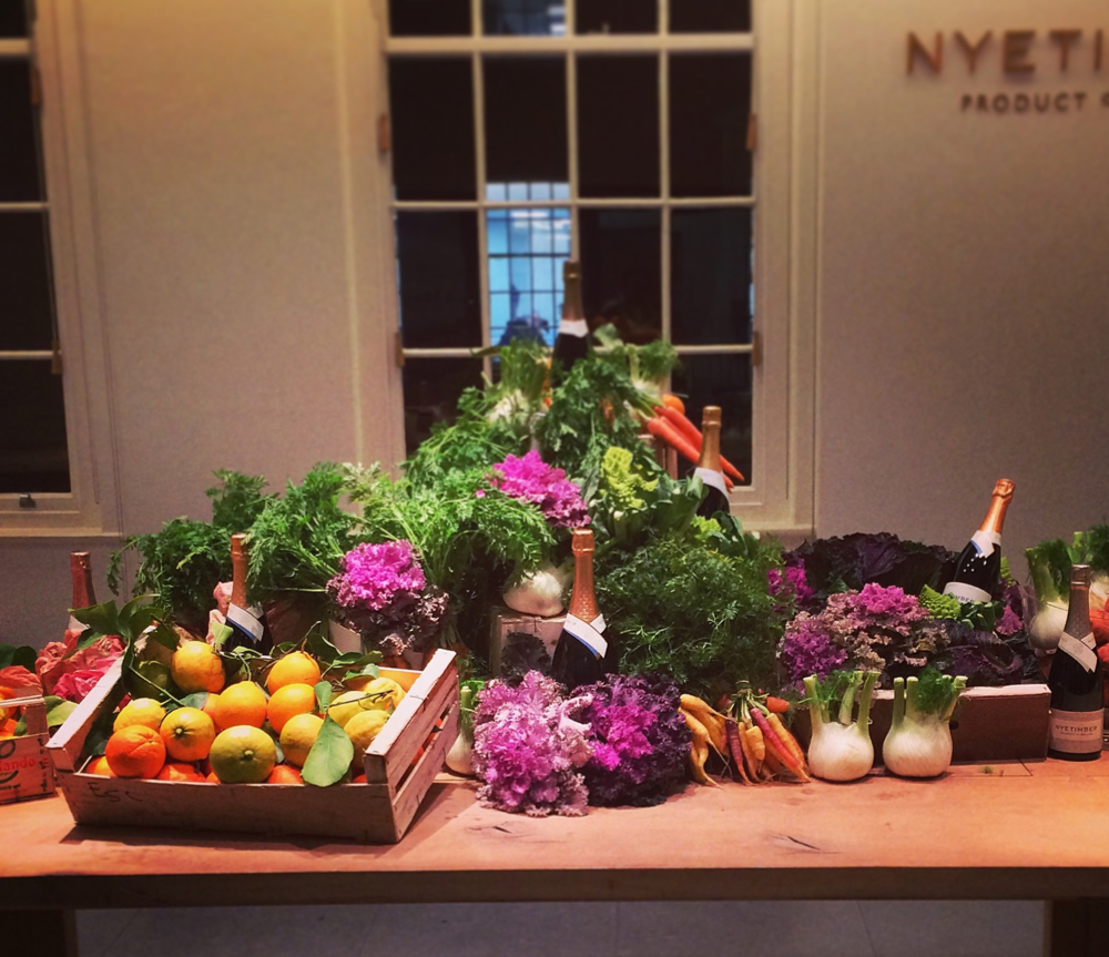 Our display of Natoora ingredients at Nyetimber HQ