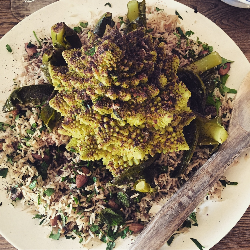Roasted romanesco cauliflower and seven spice pilaf