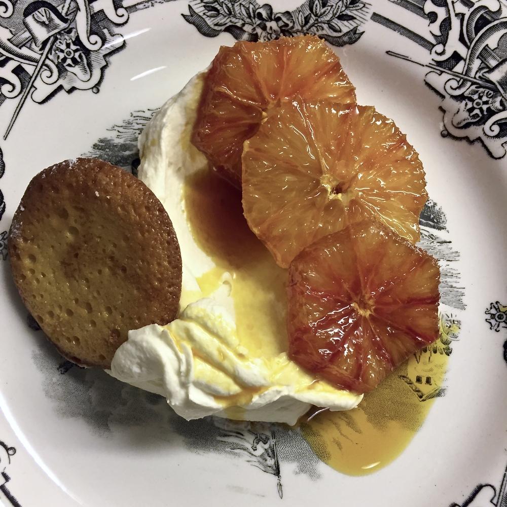Madeleines with caramel blood oranges