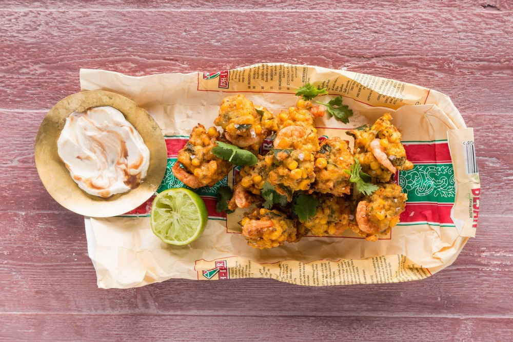 Sweetcorn & prawn pakoras