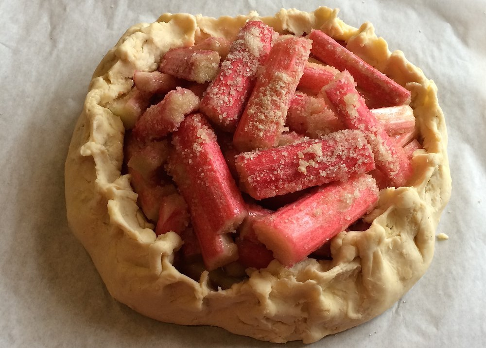Rhubarb galette with blood orange syrup