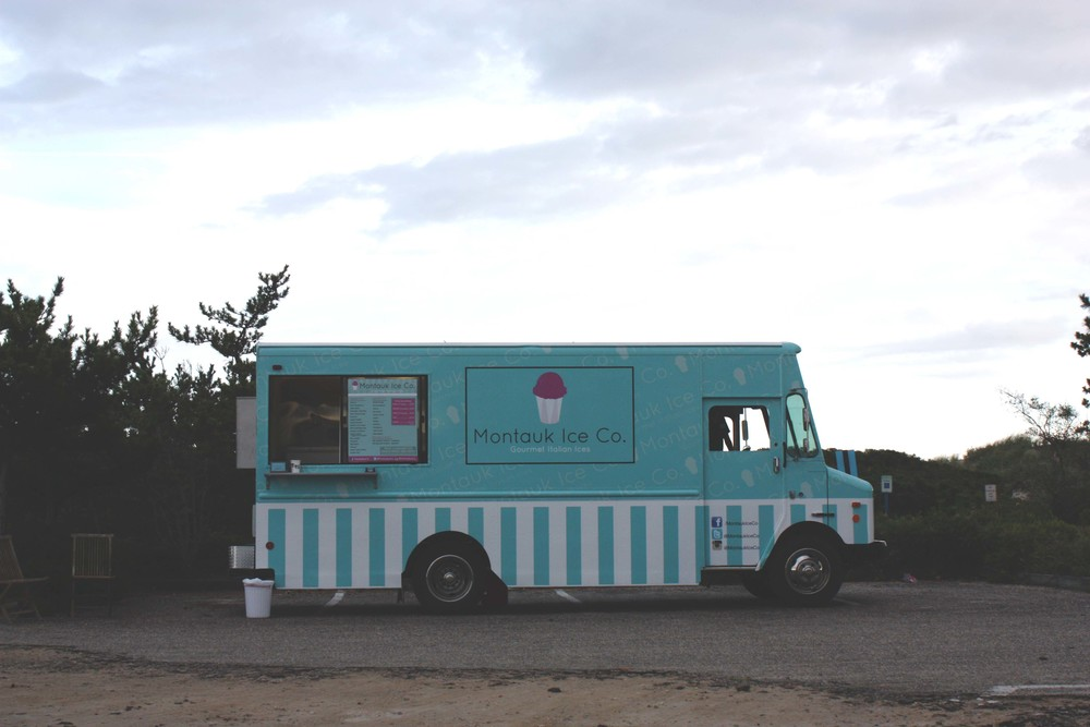 Summer staple. Montauk Ice Co. in Kirk Park, serving homemade italian ices in a food truck.