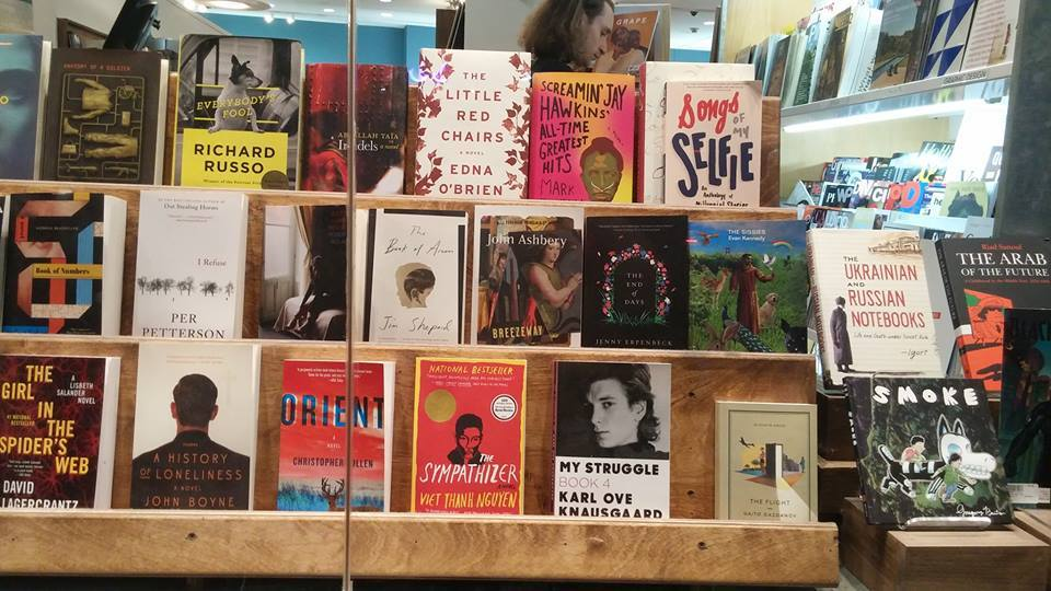 SONGS OF MY SELFIE in the front window at McNally Jackson (photo by Angela Sloan).