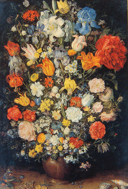 Flowers in a Vase with Jewels, Coins and Shells \ Jan Brueghel (Milan), 1606