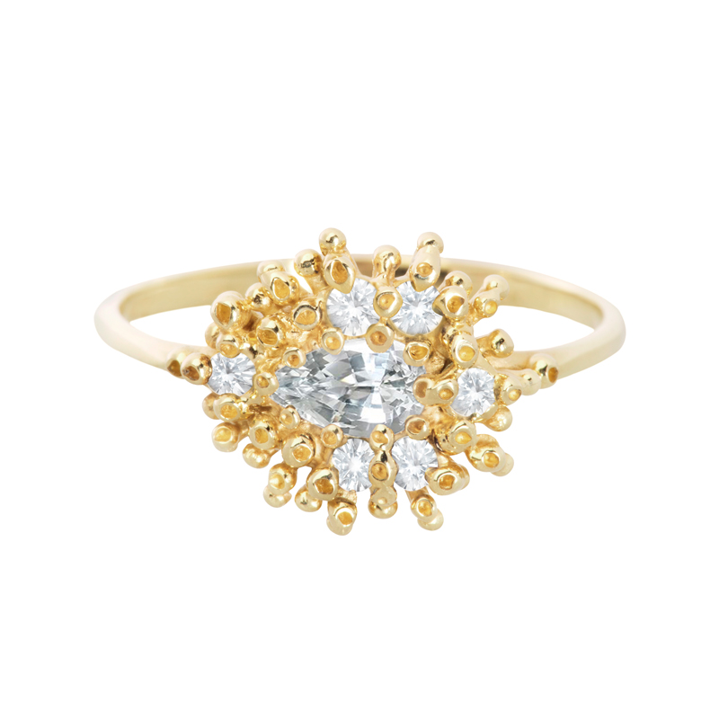 14K yellow gold & white sapphires embedded in a most elegant coral-like texture.