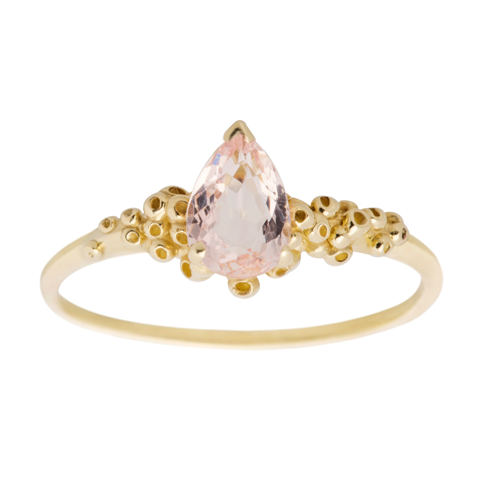 14K yellow gold & Morganite. Classic modern and romantic ring, a symbol of everyday love.