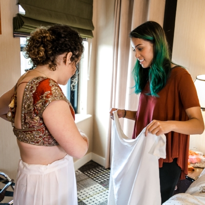 Meghana Prasad helping with Indian bridal dressing