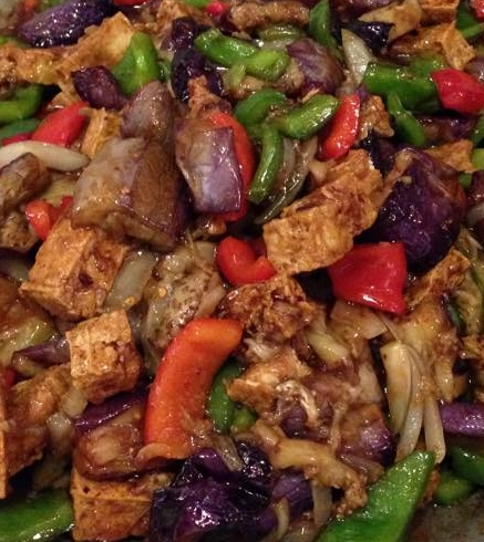 Sautéed tofu with eggplant, peppers & onion