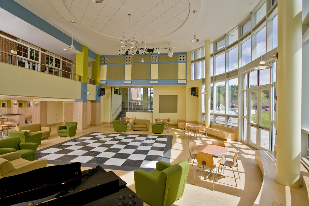 """""""The connections for day/boarding, parent drop off / pick up, athletic / academic / arts intersection…..informal and formal – genius!    In essence, this space is fantastic for the school and your design captured the vision and expectations for this space better than I ever could have imagined.""""   Mike Schafer, Head of School Kimball Union Academy"""