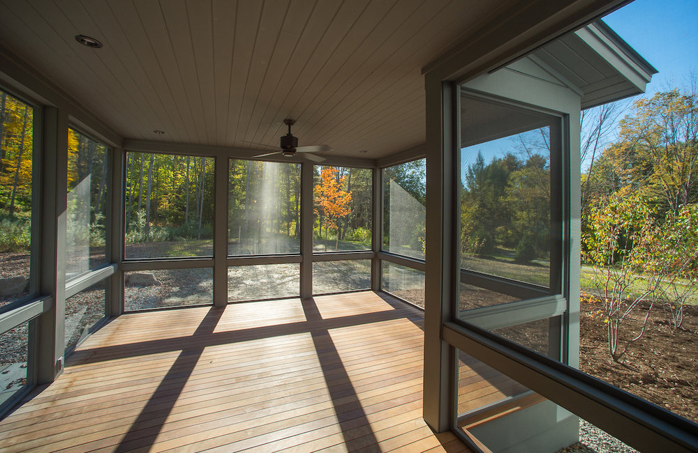 This newly constructed home is on a gently sloping site close to the Connecticut River in Lyme, NH.