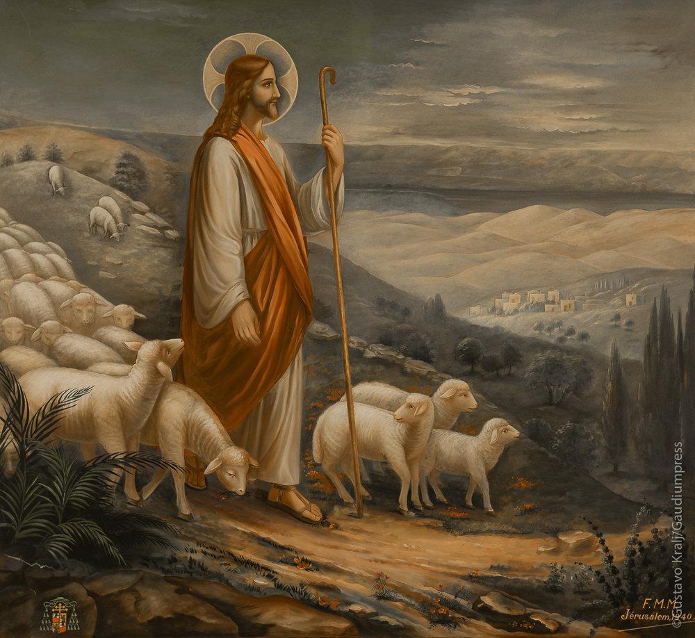 Jesus Buen Pastor. Oleo. Convento de Betania, Tierra Santa. Foto: Gustavo Kralj/GaudiumpressImages.com