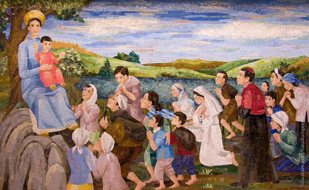 Ntra Sra de Lavang aparece a los fieles de Vietnam con el niño Jesús. Foto: Gustavo Kralj/GaudiumpressImages.com