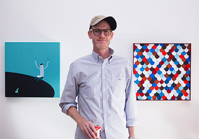 Jim Houser in front of his work at FFDG on July 11th