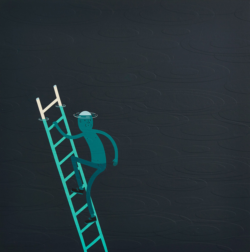 """The Depth Finder acrylic collage on panel, 2014 18"""" x 18"""" price and availability, email: info(at)ffdg.net"""